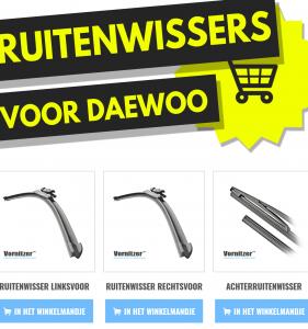 Daewoo Nexia Ruitenwissers (Wisserbladen) voor en achter